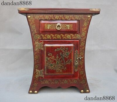 """13""""Old Chinese Palace lacquerware wood Dragon Phoenix storage box cabinet Boxes"""