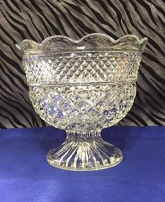 1 Anchor Hocking Wexford Clear Footed Pressed Glass Fruit Bowl 7 inches tall