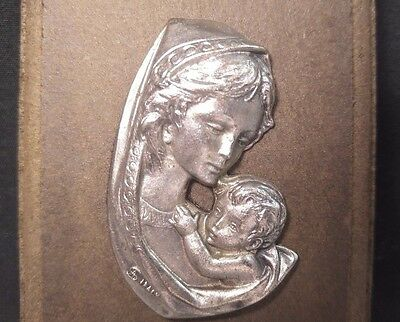 Vintage SA Italy Pewter Silver Madonna Child wood Plaque Wall Hanging Decor