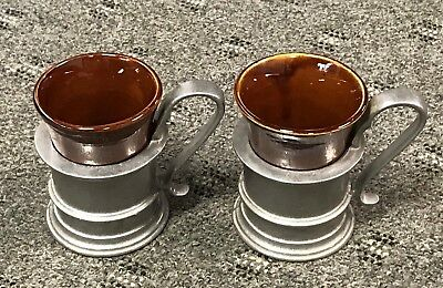 Vtg Brown  Hall Cup # 342 With Pewter Holder/set Of 2
