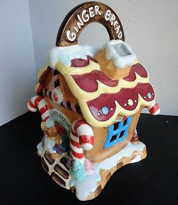 "Home Trends Ceramic Ginger Bread House Cookie Jar - over 10"" high"