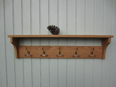 solid oak coat rack shelf with solid triple brass hangers natural oil finish/to