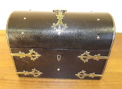 Stationery Box Victorian Ebony Leather & Brass Mounted. c1880