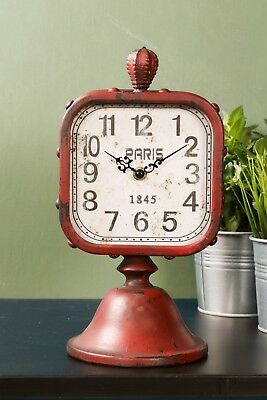 Red Mantel Paris Clock Vintage Antique Style Metal Iron Distressed Studded