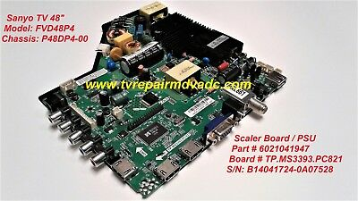6021041947 SCALER BOARD Psu Sanyo Fvd48P4 P48Dp4-00  Tested Disclaimer  Warning