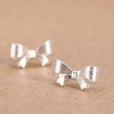 Girl Women 925 Sterling Silver Bow Crystal Rhinestone Ear Studs Vintage Earrings