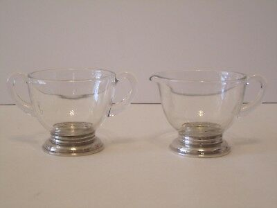 "Vintage Sterling Silver & Clear Crystal Creamer and Sugar Bowl Set 2 1/2"" H"