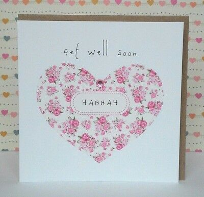 Personalised Get Well Card Floral Heart With Pink Gem Handmade 5