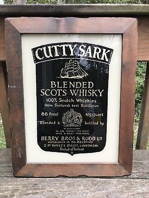 Vintage CUTTY SARK Blended Scots Whisky Mirror Bar-Beer Advertising Sign Nice!