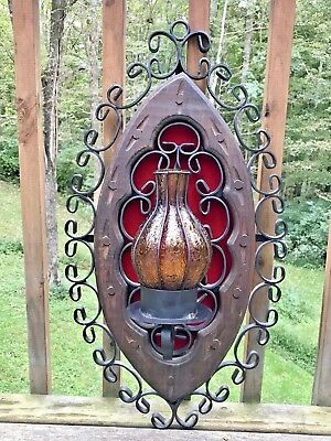 Vintage Wrought Iron Wall Sconce Spanish Revival Gothic Amber Glass Chimney 26""