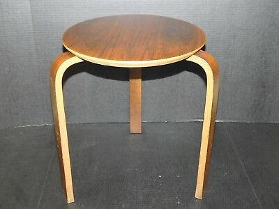 Vtg Alvar Aalto Mid Century Danish Modern Stacking Bent Wood Table Stool Denmark