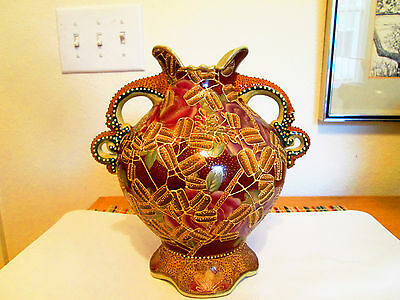 Antique Satsuma Lrg. Vase 20th Century Embossed Gold and Beading Relief