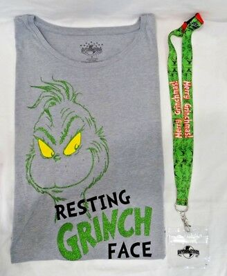 Universal Studios Dr Seuss Resting Grinch Face T-Shirt & Merry Grinchmas Lanyard