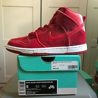newest collection 2363e 18b86 zapatillas Nike SB Dunk High Premium Red Velvet terciopelo skate shoes EUR  37,5