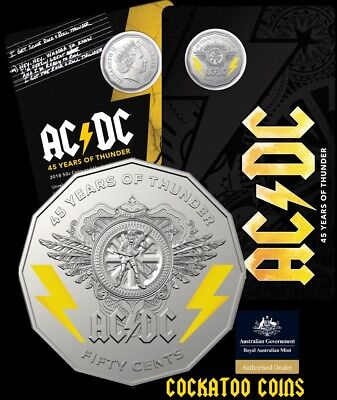 2018 50c Coloured Uncirculated Coin In Card ACDC 45 Years of Thunder Fifty Cent