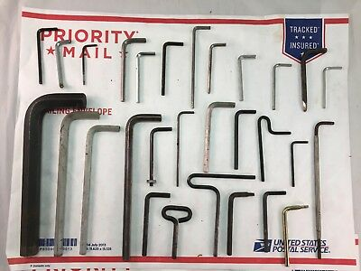 Large Lot of 29 Vintage Allen Wrench Hand Tools Big Small Wide Variety of Sizes