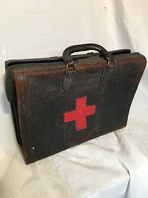 Vintage Old Doctor Surgeon Leather Carrying Bag Case Red Cross Painted On Side
