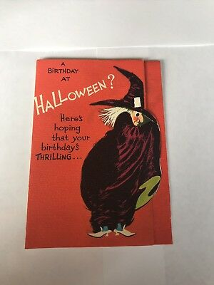 vintage halloween birthday greeting card