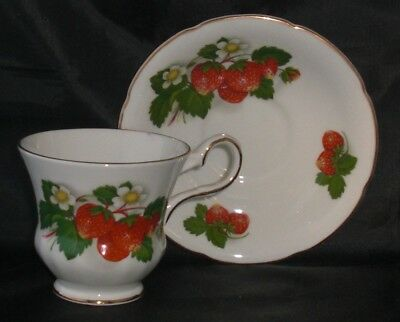 Royal Grafton Strawberry Cup and Saucer Set English Fine Bone China
