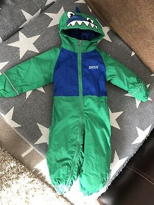 REGATTA PADDED PUDDLE Rain suit 12-18 Months Dino Design Green   Blue  All-in-one - £9.50  b62efd6a5a800
