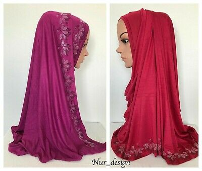 High Quality!Cotton Jersey Scarf with Gold/Silver Rhinestones border 170 x 65 cm