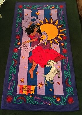 "NEW & RARE! DISNEY'S ""ESMERALDA"" BEACH TOWEL 100% COTTON FIBERACTIVE 34""x 64"""