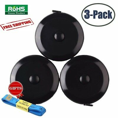 3 Pack Tape Measure Retractable Body Measuring Push Button Ruler Sewing 60 Inch