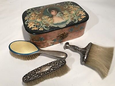 Antique 1900 Victorian English Sterling Vanity Implement Brush Set, In Box