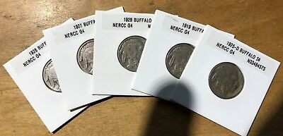 NICE Lot of Five (5) Old Buffalo Nickels With Dates ... SWEET!
