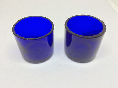 Pair of Vintage cobalt BLUE GLASS POTS modern design MCM antique rare shot