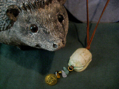 Scarab NECKLACE large pendant hand-carved stone Mexican coin cord artisan