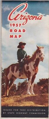 1957 Official State Issue Road Map Of Arizona