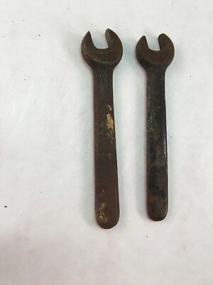 Two Vintage Small Metal Old Antique Small Wrenches Wrench Billings 5/16  3/8