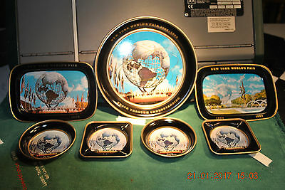 New York's World Fair 1964-1965 Tray Set  The Set Is Perfect All 7 Trays