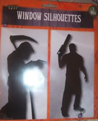 2 X HALLOWEEN GIANT SCARY WINDOW SILHOUETTES GRIM REAPER /& CHAINSAW DESIGN DEATH