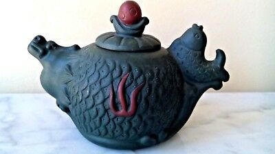 Beautiful Antique Chinese Small Green Pottery Teapot Has Seal  Very Rare