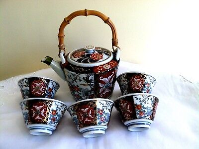 Beautiful Vintage Japanese Imari Hand Painted Teapot & 5 Cups Signed By Artist