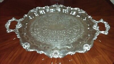"""Huge Antique  Silver Plate 31.5"""" X 20.5"""" Butler/ Serving Tray English Silver Co."""