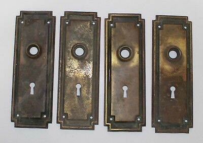 Superieur Lot Of 4 Vintage Antique Brass Door Knob Back Plates