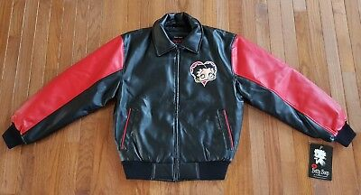 NWT Authentic Betty Boop by Excelled Red Black Faux Leather Bomber Jacket Size S