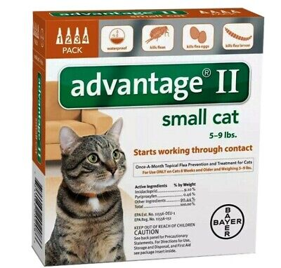 Bayer Advantage II Flea Control Treatment for small Cats 5-9 LBS. New, Sealed!