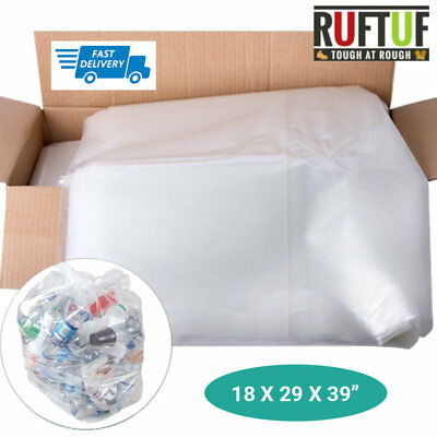 "140G Large Clear Plastic Polythene Bin Liners Waste Bags Sacks Size 18""x29""x39"""