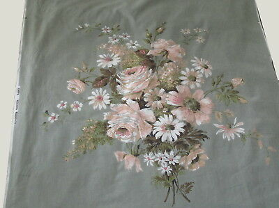 "Vintage Floral Cotton fabric panel SANDERSON  31"" x 30 1/2"" Pre-1966 PLEASE READ"