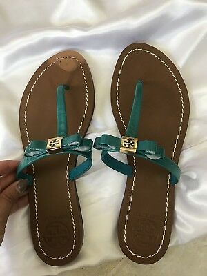 628e1ac2c73 Tory Burch  leighanne  Thong Sandal Turquoise Bow Shoe Flip Flop Flat ...