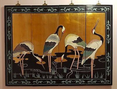 Vintage Set of 4 Asian Oriental Wall Art Hand Carved & Painted Panel with Cranes