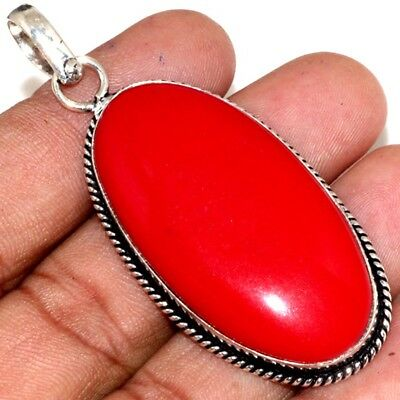 """U15103 Red Coral 925 Sterling Silver Plated Pendant 2.5"""""""