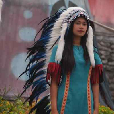 Blue Large Monte Feather Headdress Chief Indian Headdress Warbonnet Handmade