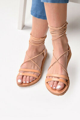 Ancient Greek style lace up natural leather gladiator sandals handmade in Greece
