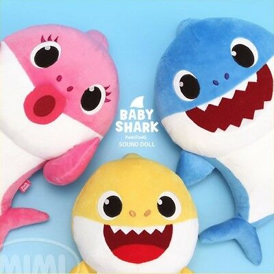 Pinkfong SHARK Family Korean Song Baby Mother Father Sound Plush Doll 3000 play