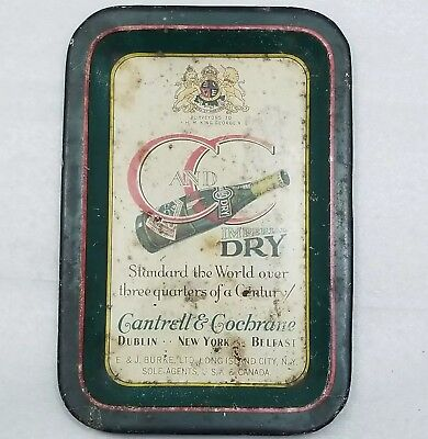 Antique C and C Imperial Dry 1920s Cantrell & Cochrane tin tip tray or ashtray